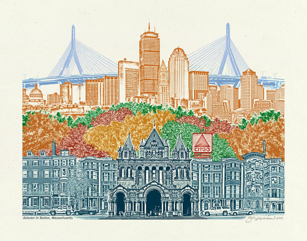 Boston Art Print -- Boston in Autumn Print -- Massachusetts -- 8.5x11, 11x14 & 16x20 Poster