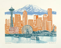 Seattle Art Print -- Seattle to Mt. Rainier - 8.5x11, 11x14, and 16x20 Poster