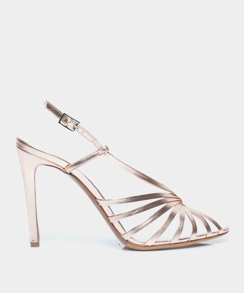 Jazz Rose Gold Metallic Nappa Heeled Sandal
