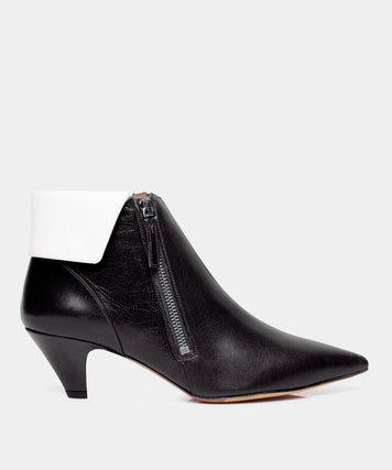 Chrissie Black / White Nappa Pointed Toe Bootie
