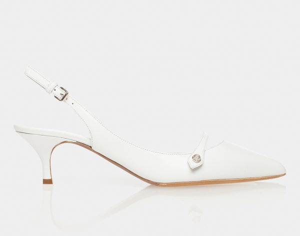 Layton White Calf Pointed Mary Jane Sling-Back Kitten Heel
