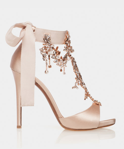 Here She Comes Bridal Rose Satin Open Toe Sandal