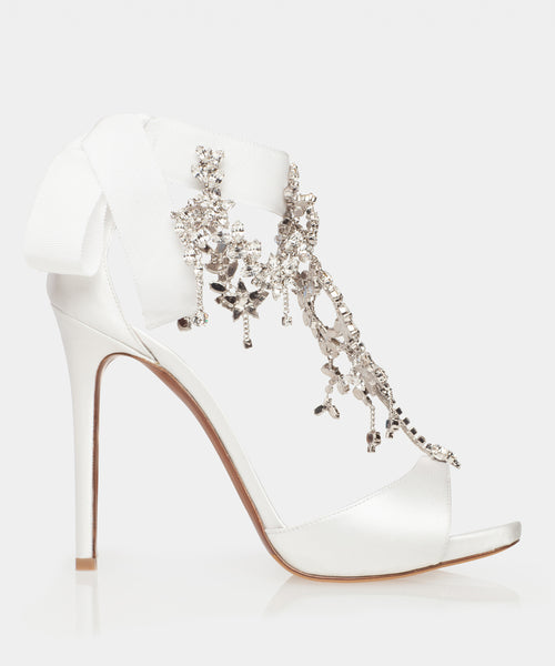 Here She Comes Bridal White Satin Open Toe Sandal