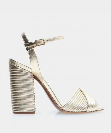 Kali Gold Nappa Pleated Open Toe Block Heel Sandal