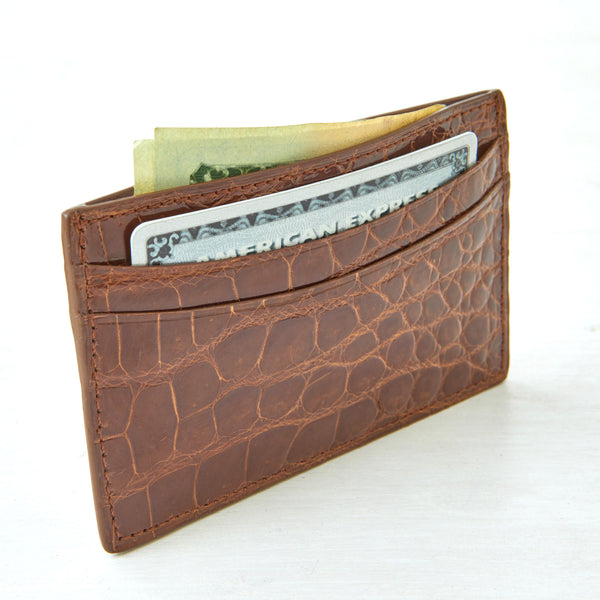 Credit Card Case - Cognac Crocodile