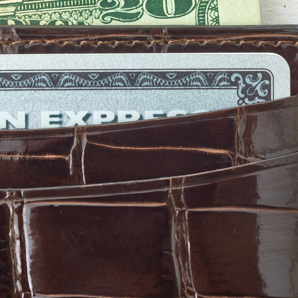Credit Card Case - Brown Crocodile