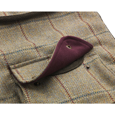 Moleskin tweed designer dog coat with large pocket