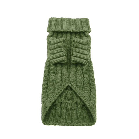 Designer dog cable jumper olive green suitable for small to medium dog breeds