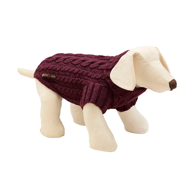 plum cable designer dog jumper