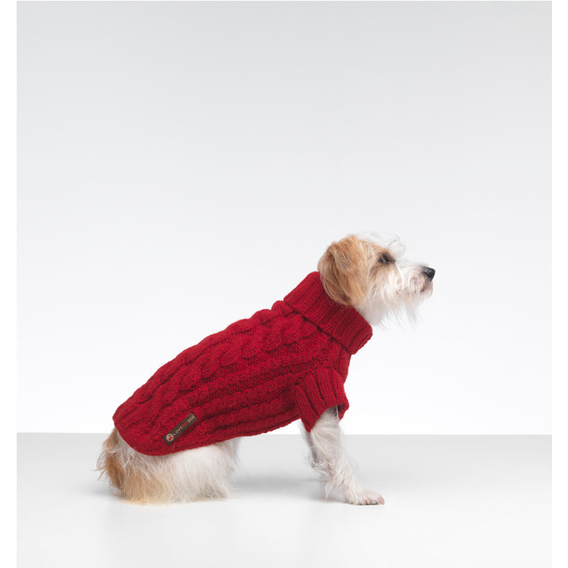 Designer red cable dog sweater in natural fibres