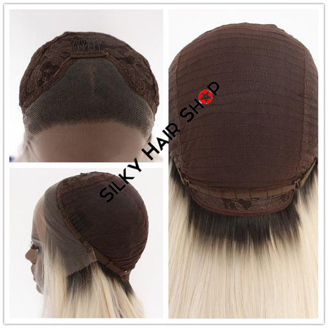 Image of Bianca Lace Front Long Bob color 1B - SilkyHairShop.com