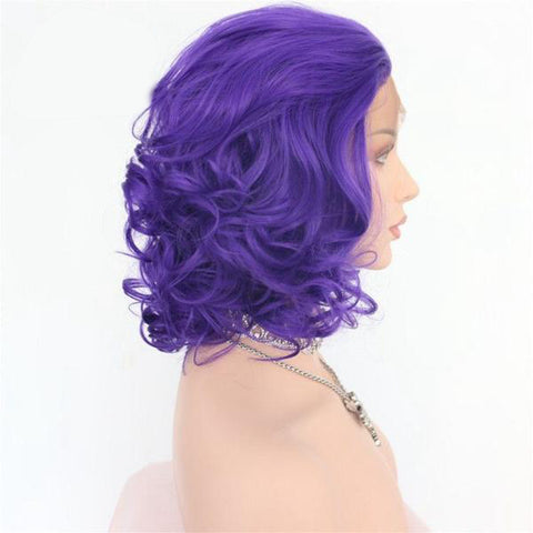Image of Violet Lace Front Big Curly Bob color purple - SilkyHairShop.com