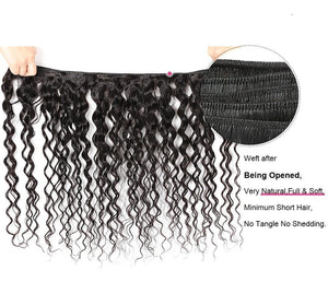 Brazilian Virgin Water Wave 2 or 3 Bundles With Three Part Closure