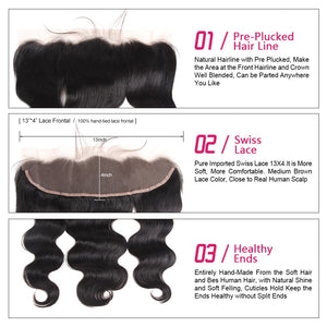 Brazilian Virgin Body Wave Hair 3 Bundles With Lace Frontal