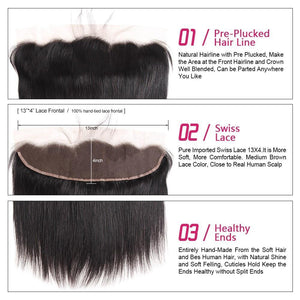 Brazilian Straight Hair 2 or 3 bundles with Lace Frontal - SilkyHairShop.com
