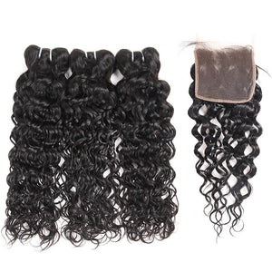 Brazilian Virgin Water Wave 2 or 3 Bundles With Free Part Closure