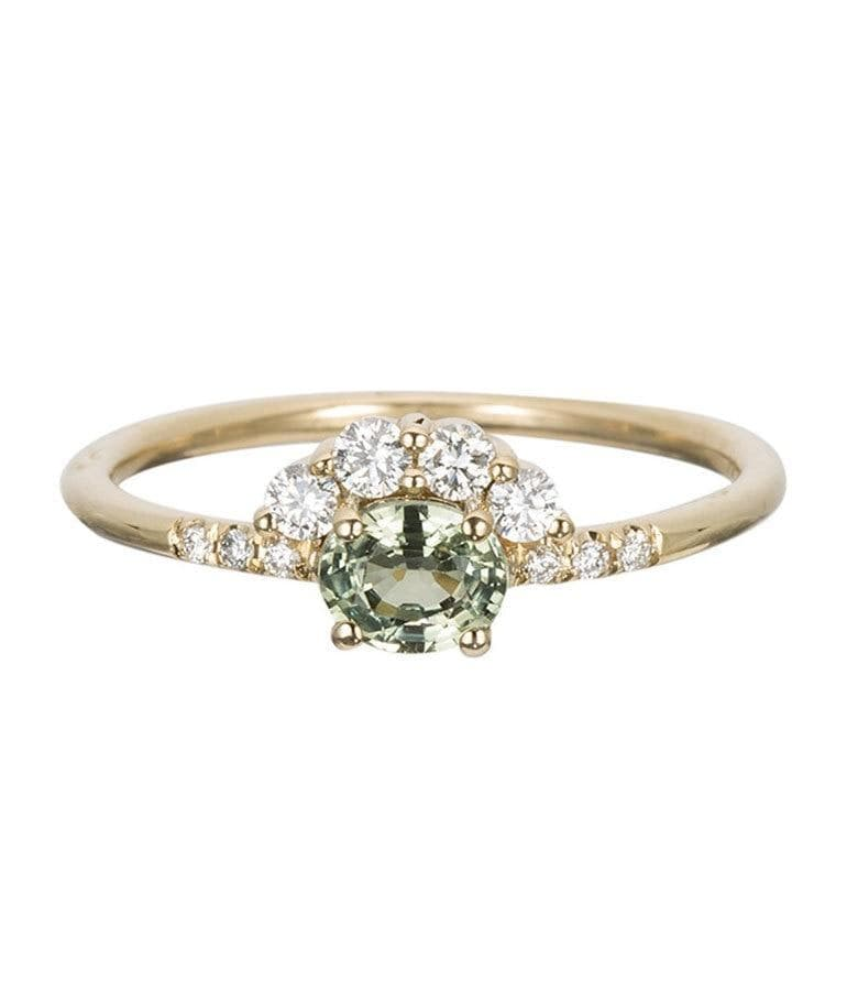 Green Sapphire Arch Ring
