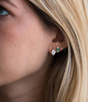 Emerald Baguette Diamond Studs