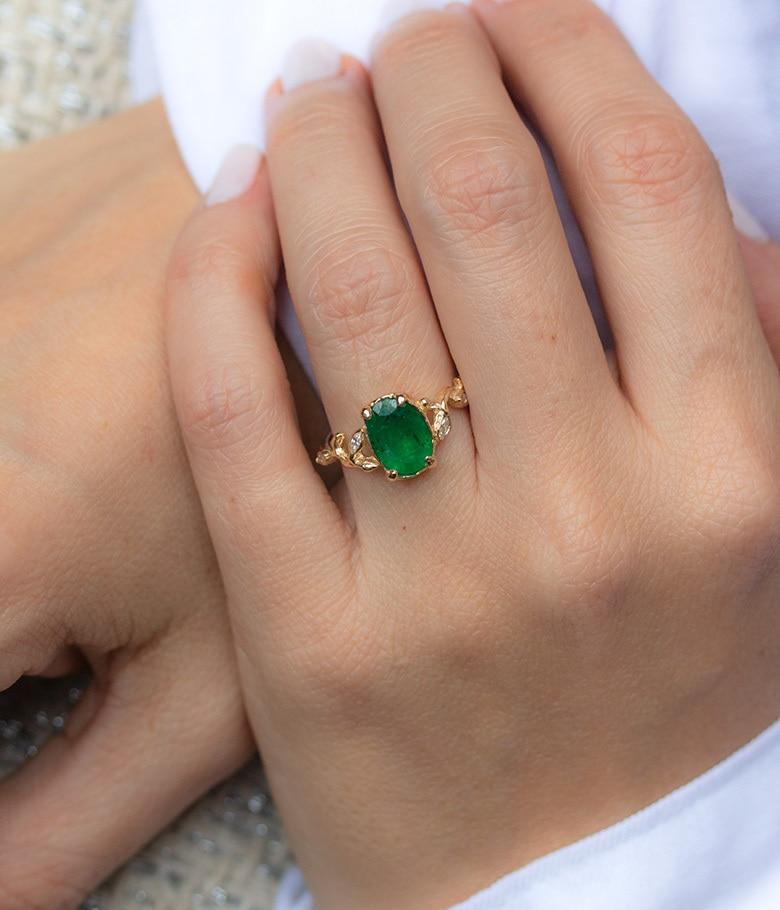 Emerald Marquise Diamond Branch Ring