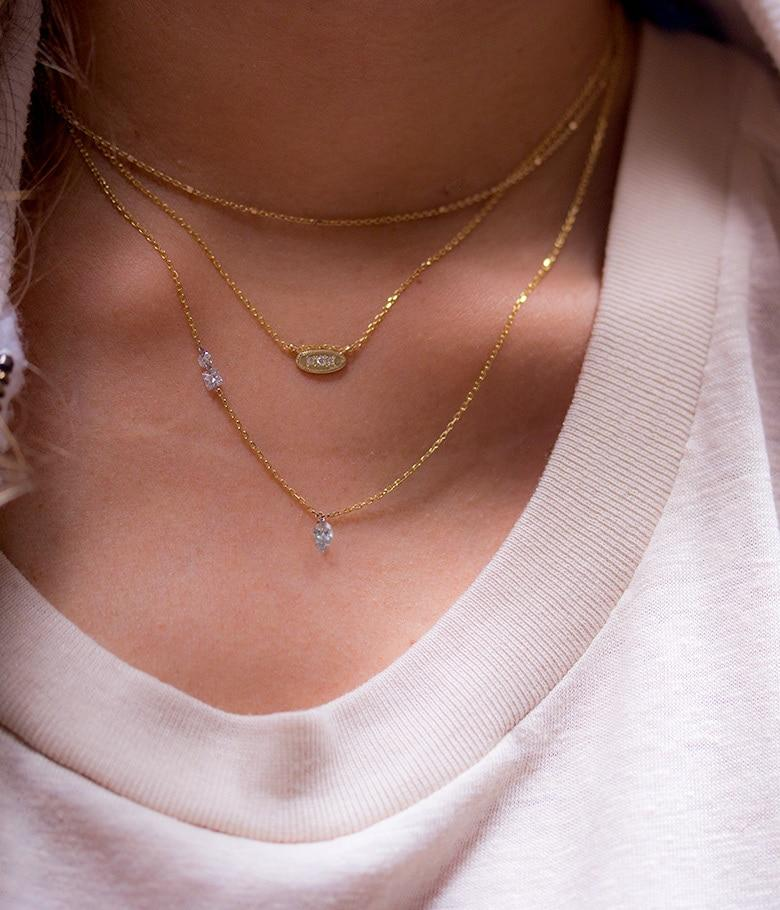 Three Diamond Oval Disk Necklace