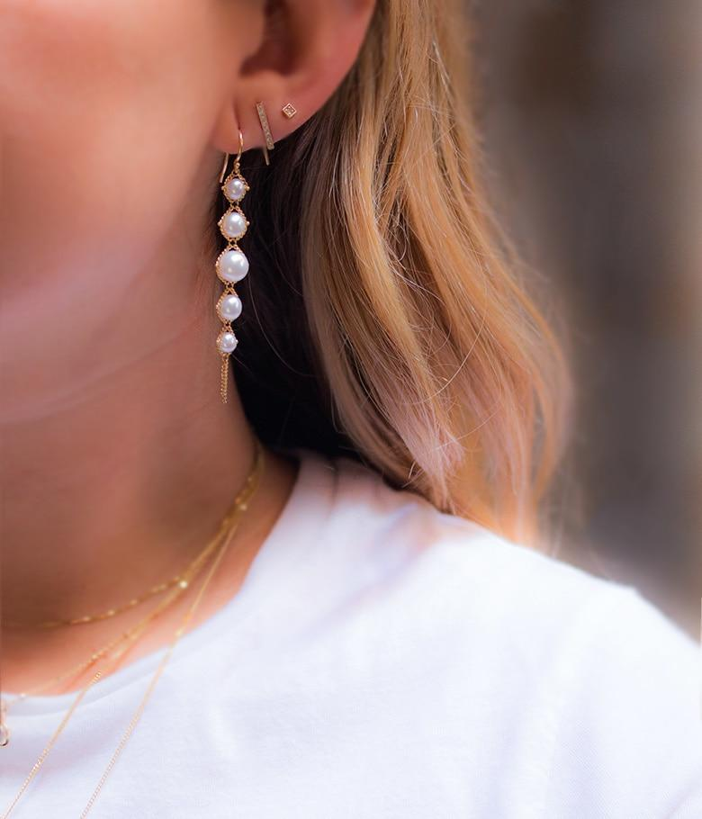 18k Pearl Drop Tassel Earrings