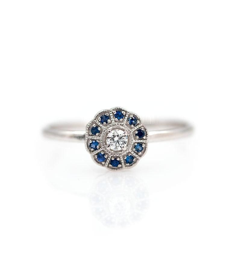 Blue Sapphire and Diamond Circle Ring