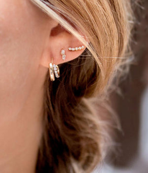 Diamond Ziggie Stud Earrings