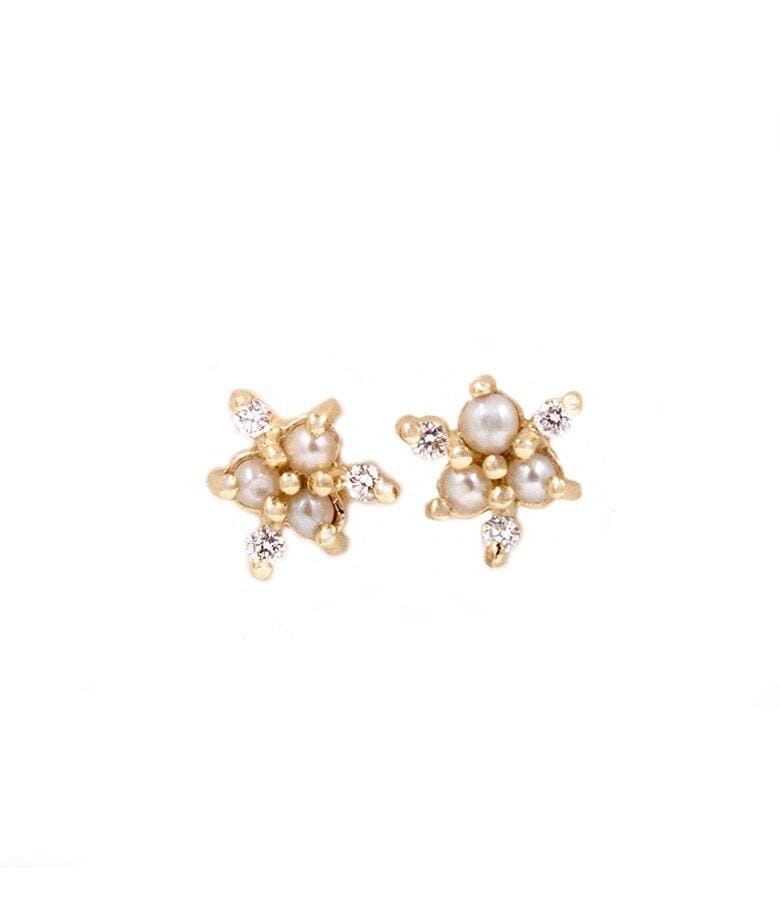 Dainty Pearl with Diamond Snowflake Earrings
