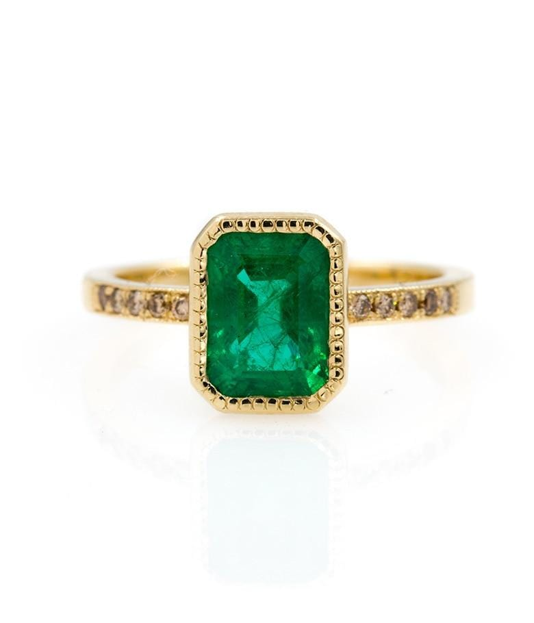 Vertically Set Emerald Cut Emerald Ring