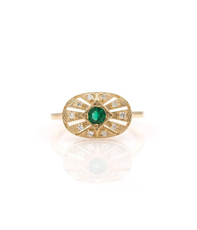 Emerald Diamond Medallion Ring