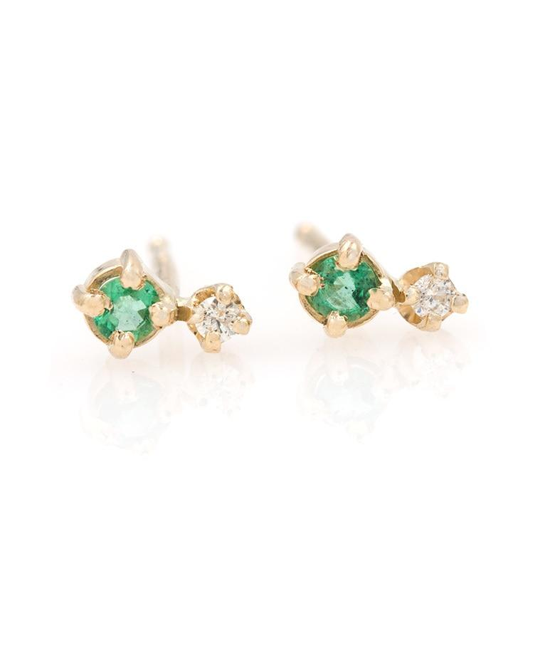 Tiny Emerald Diamond Studs
