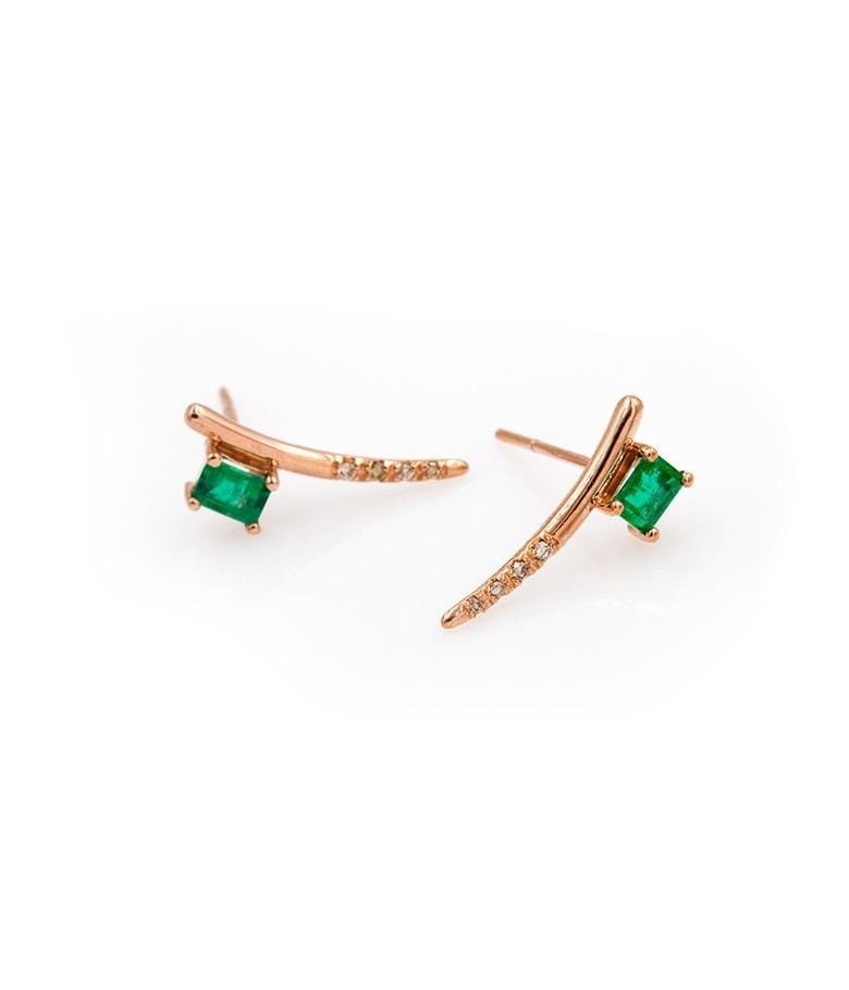 Dewy Emerald Diamond Bar Studs