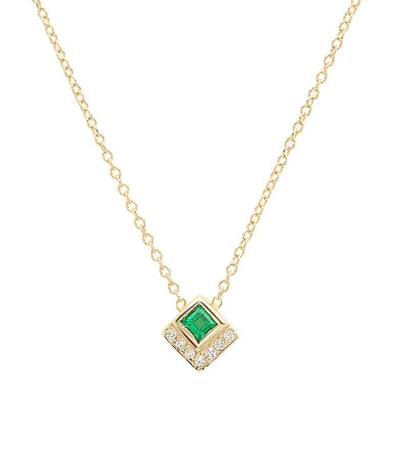 Square Cut Emerald and Diamond Necklace
