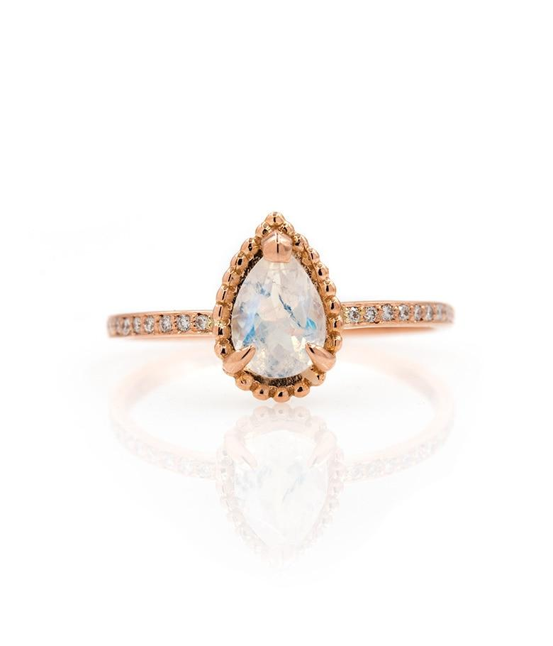 Teardrop Moonstone Ring