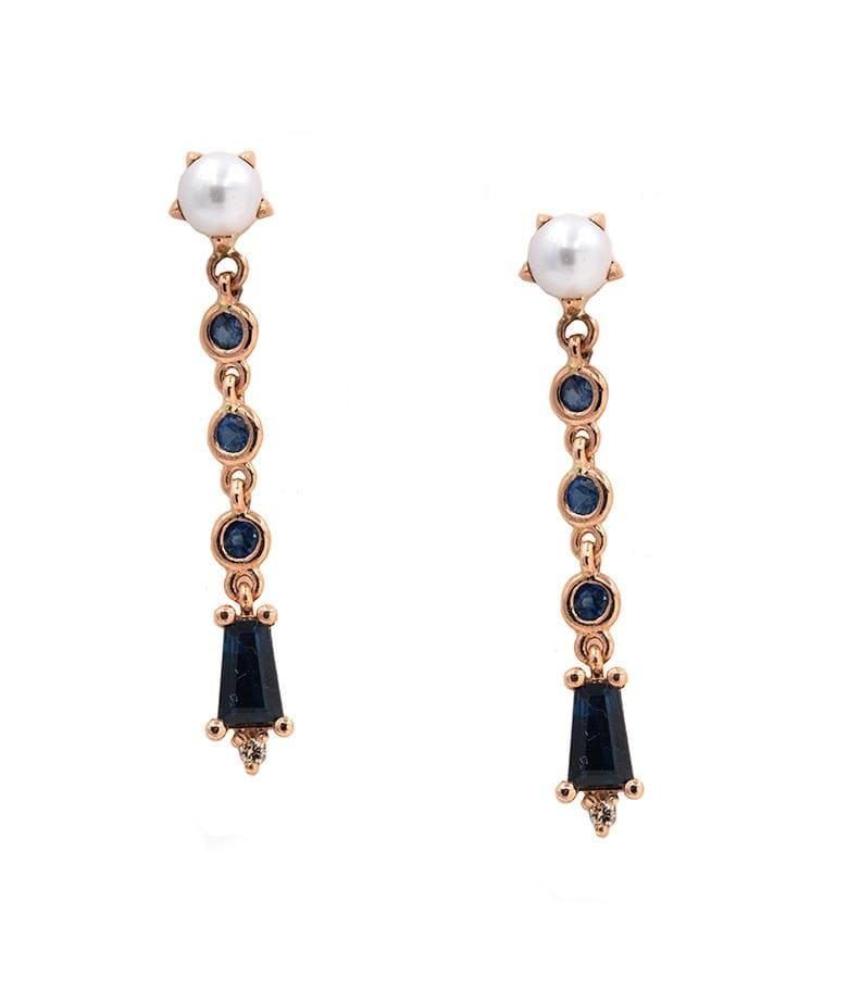 Pearl Deco Drop Sapphire Earrings