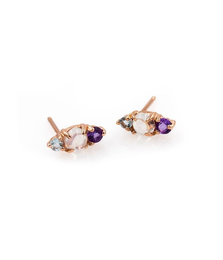 Moonstone Aquamarine and Amethyst Studs
