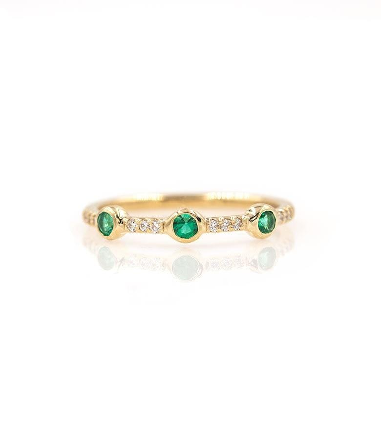 Triple Emerald and Diamond Pave Band