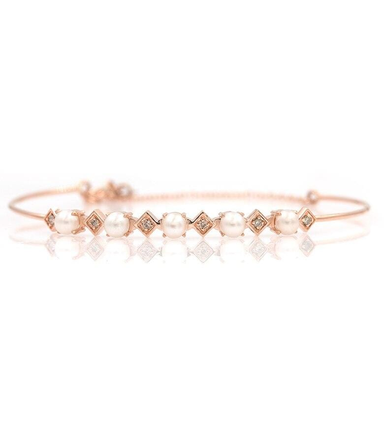 Rose Gold Pearl Diamond Bracelet
