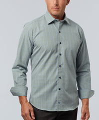 Poplin Melange Plaid Sport Shirt