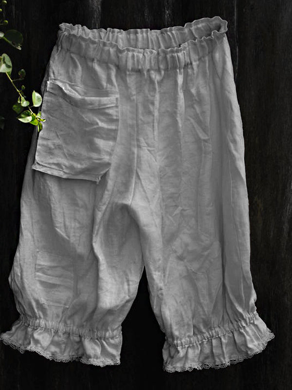 Elastic Waist Solid Color Pocket Ruffled Linen Shorts