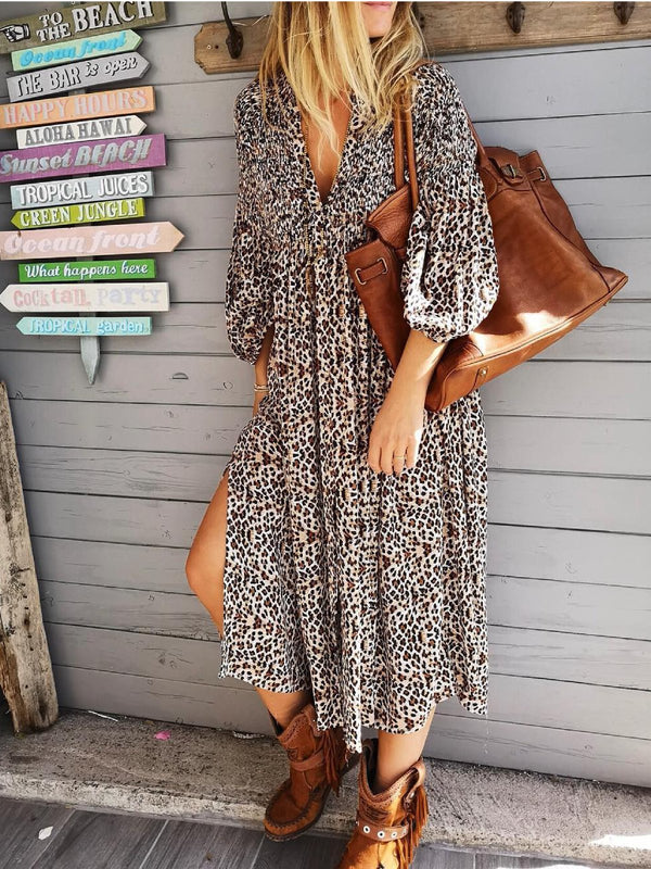 Leopard Chiffon Holiday Printed Dresses