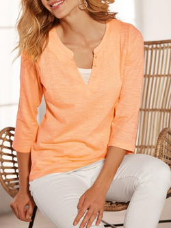 Cotton-Blend 3/4 Sleeve Shirts & Tops