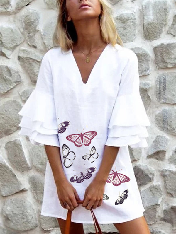 Half Sleeve Linen Sweet Vacation Dresses