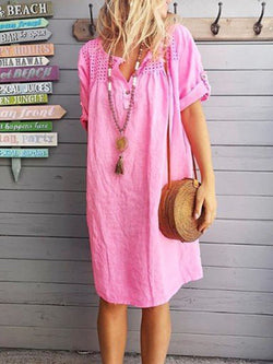 Women Dresses Shift Daily Paneled Plain Dresses