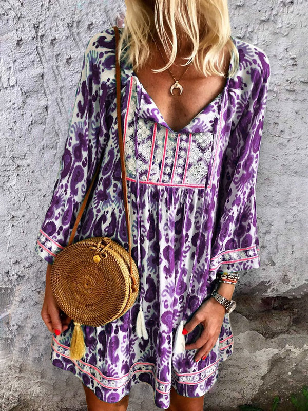 Kaftan Floral-Print Trible V Neck Daytime Boho Cotton Mini Dresses