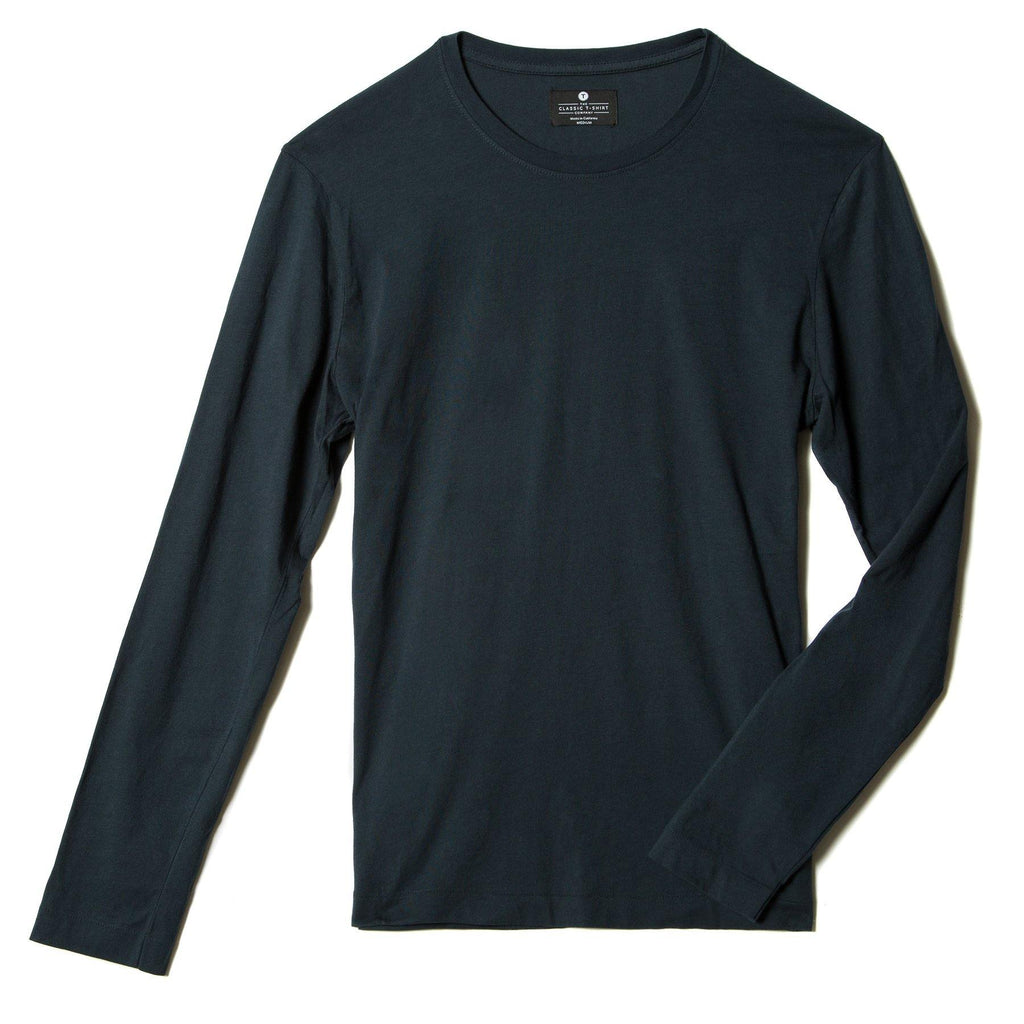 navy-blue organic long sleeve cotton t-shirt - flat
