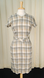 1950s Gray & Tan Wiggle Dress by Cats Like Us - Cats Like Us