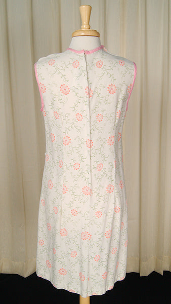 1950s Pink Flocked Shift Dress by Cats Like Us - Cats Like Us