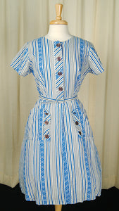 1950s Striped Pocket Day Dress by Vintage Collection by Cats Like Us - Cats Like Us