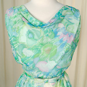 1950s Watercolor Wiggle Dress by Cats Like Us - Cats Like Us